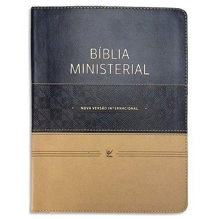 Bíblia Ministerial NVI Azul e Bege com Índice