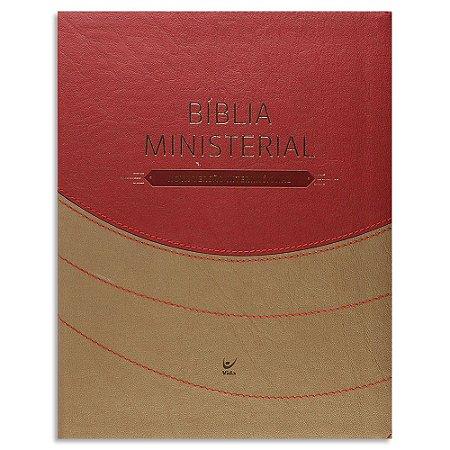 Bíblia Ministerial NVI capa Marrom e Vermelho com Índice
