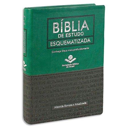 Bíblia de Estudo Esquematizada Verde e Preta