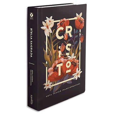 Bíblia NVT Letra Grande Flores Tropicais Cristo Preta