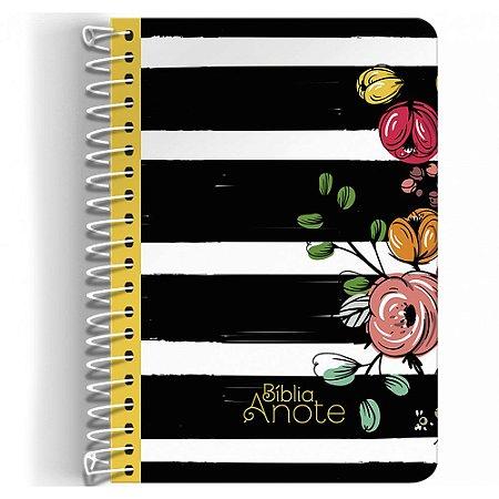 Bíblia NVI Anote Espiral Listrada Flores