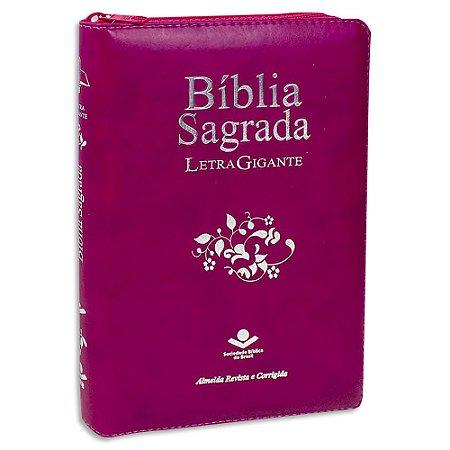Bíblia Sagrada Letra Gigante Índice e Zíper Vinho