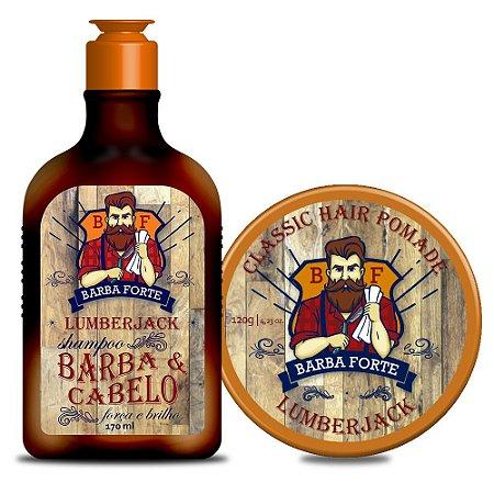 Combo Lumberjack Barba Forte Shampoo Barba e Cabelo + Pomada Lumberjack (2 Produtos)