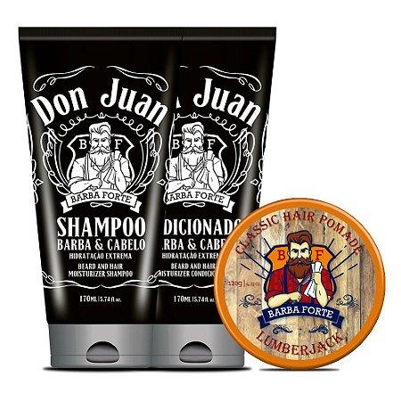 Combo Barba Forte Shampoo e Condicionador Don Juan + Pomada Lumberjack (3 Produtos)