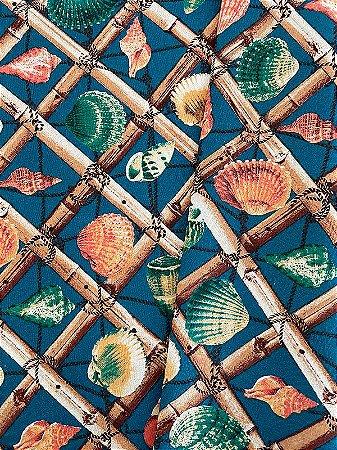 Tecido Jacquard náutico conchas azul