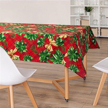 Toalha De Mesa Natal Natalina Laços Vermelha