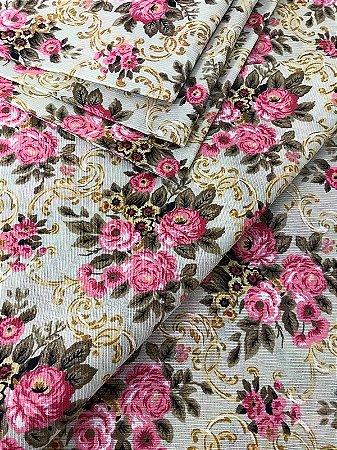Tecido Gorgurinho Floral Vintage Bege Rosa