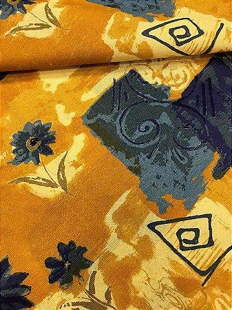 Tecido Gorgurinho Floral Abstrato Bege Azul