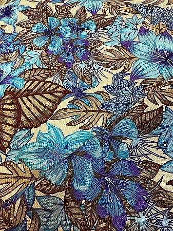 Tecido Gorgurinho Floral Azul