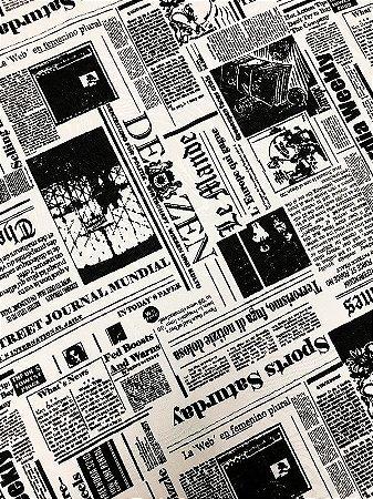 Tecido Jacquard jornal branco preto