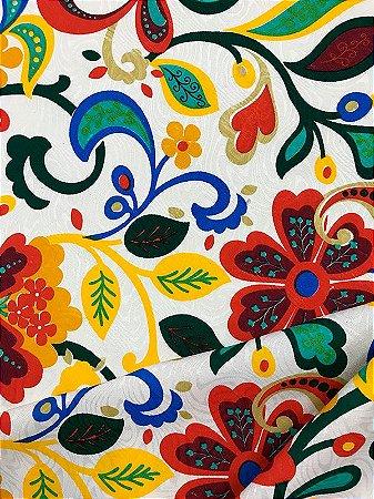 Tecido Jacquard floral amarelo