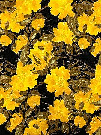Tecido Jacquard floral amarelo preto