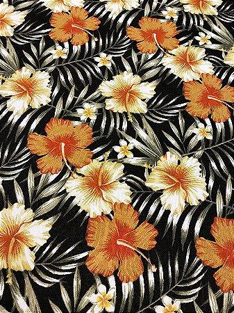 Tecido Jacquard floral preto laranja