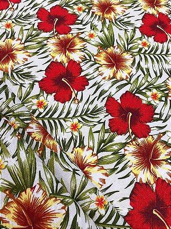 Tecido Jacquard floral branco vermelho