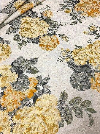 Tecido Jacquard floral vintage amarelo