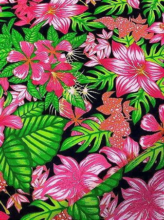 Tecido Gorgurinho Floral Rosa Azul Marinho