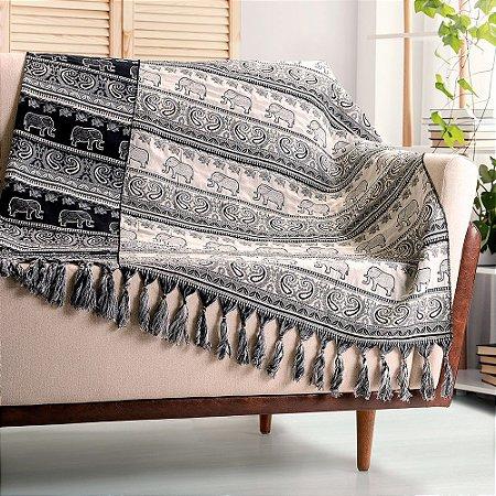 Manta para sofá Jacquard indiano branco preto dupla face