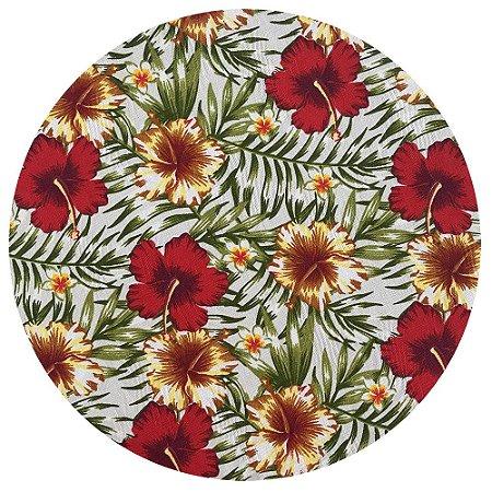 Sousplat Jacquard floral branco vermelho