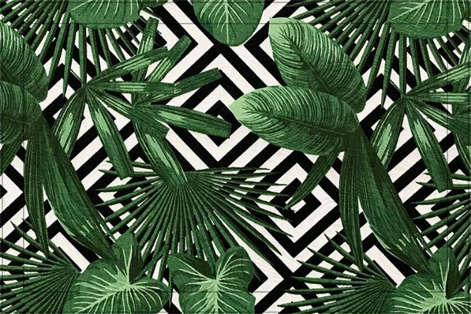 Jogo americano Jacquard folhas geométrico