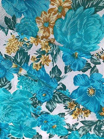 Tecido Gorgurinho floral azul branco