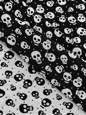 Tecido Jacquard dupla-face caveira branco e preto