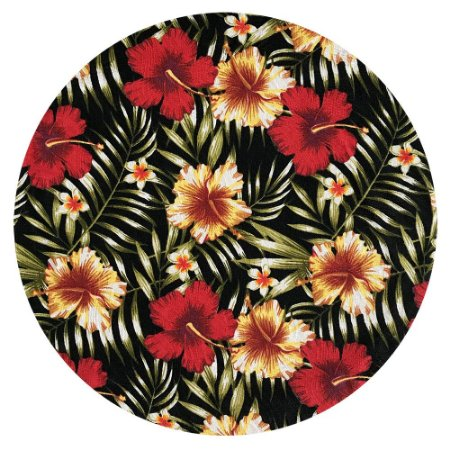 Sousplat Jacquard floral preto vermelho
