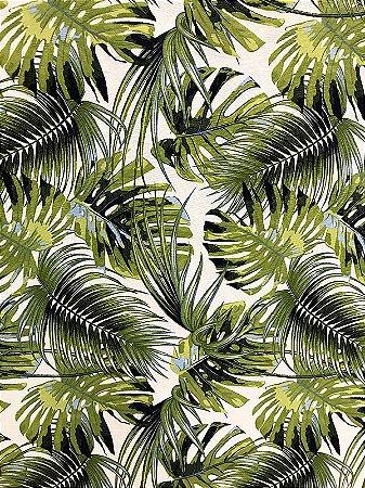 Tecido Jacquard Costela De Adão folhas verde pistache