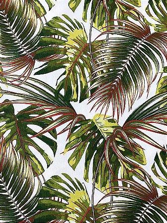 Tecido Jacquard Costela De Adão folhas verde terracota