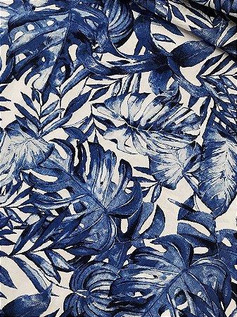 Tecido Jacquard Costela De Adão folhas azul
