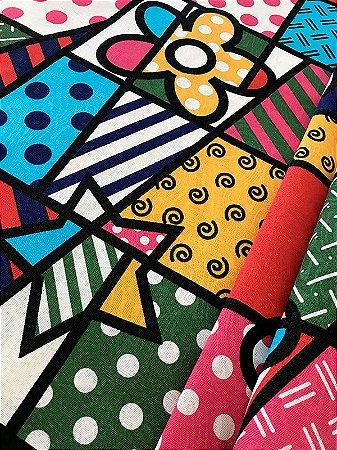 Tecido Jacquard abstrato colorido