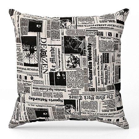 Capa de almofada Jacquard jornal preto branco