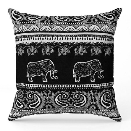 Capa de almofada Jacquard indiano preto branco