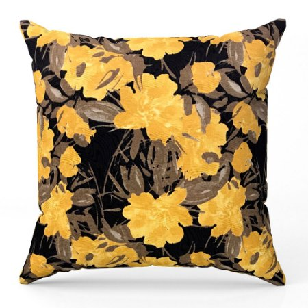 Capa de almofada Jacquard floral preto amarelo