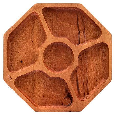 Petisqueira de madeira hexagonal 5 divisórias