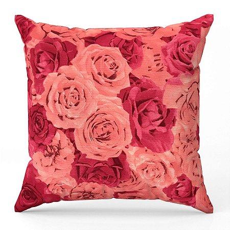 Capa de almofada Jacquard flores rosa