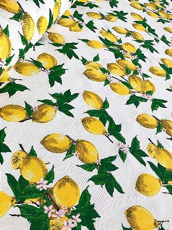 Tecido Jacquard limão siciliano branco