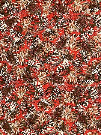 Tecido Jacquard Costela De Adão folhas vermelho