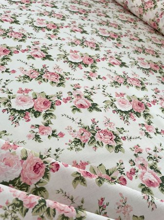Tecido Tricoline flores bege rosa