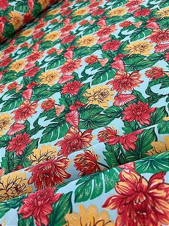Tecido Tricoline floral tiffany