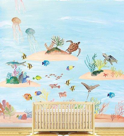 Painel Adesivo - Fundo do Mar (diversos tamanhos)