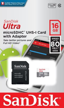 Cartão de Memória SanDisk 16GB Micro SD Classe 10