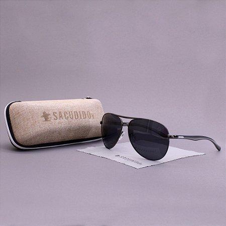 Óculos Sacudido´s - Aviador - Preto - Haste Cinza