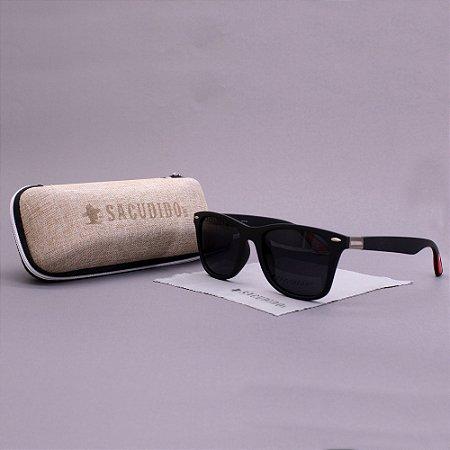 Óculos Sacudido´s - Preto Fosco- Detalhe Vermelho