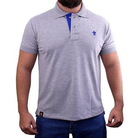 Camiseta Polo Sacudido's - Cinza Mescla-Azul