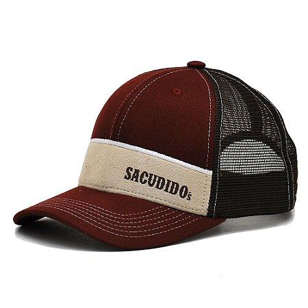 Boné Sacudido's - Faixa Suede Bege - Vinho /Marrom