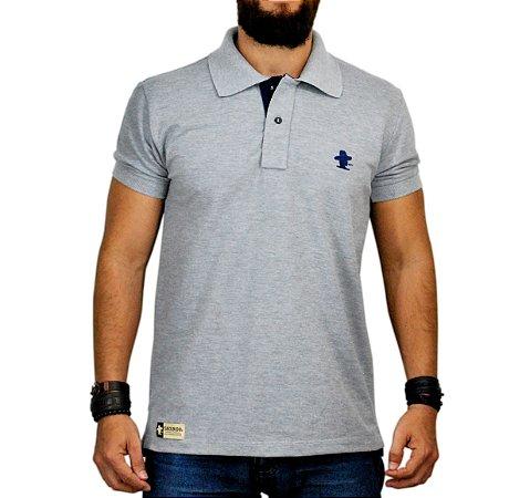 Camiseta Gola Polo Cinza Mescla Sacudido s - Sacudidos b875b12ed9f8a