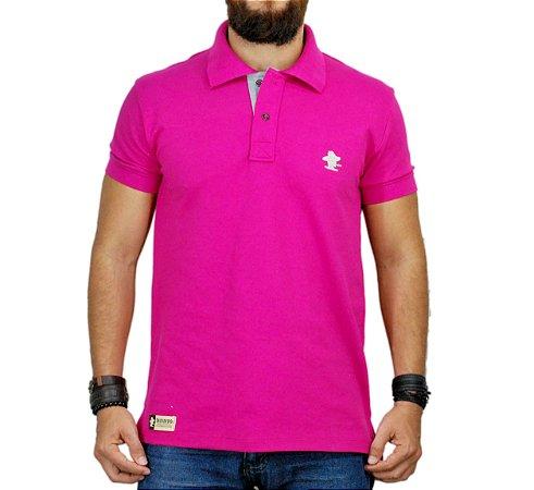 Camiseta Polo Sacudido's - Rosa e Cinza