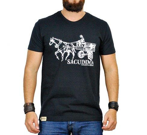 Camiseta Sacudido's - Carroça - Preta