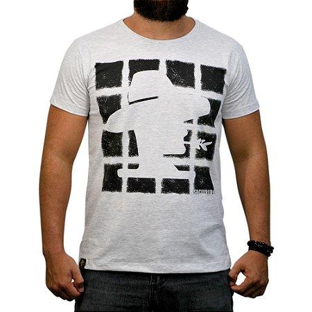 Camiseta Sacudido's - Quadrados - Cinza Claro Mesc