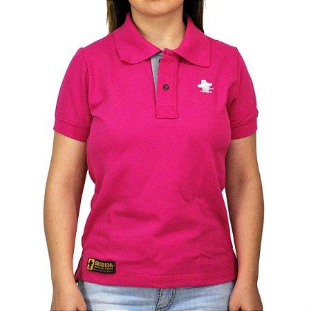 Camiseta Polo Feminina Sacudido's - Rosa e Cinza